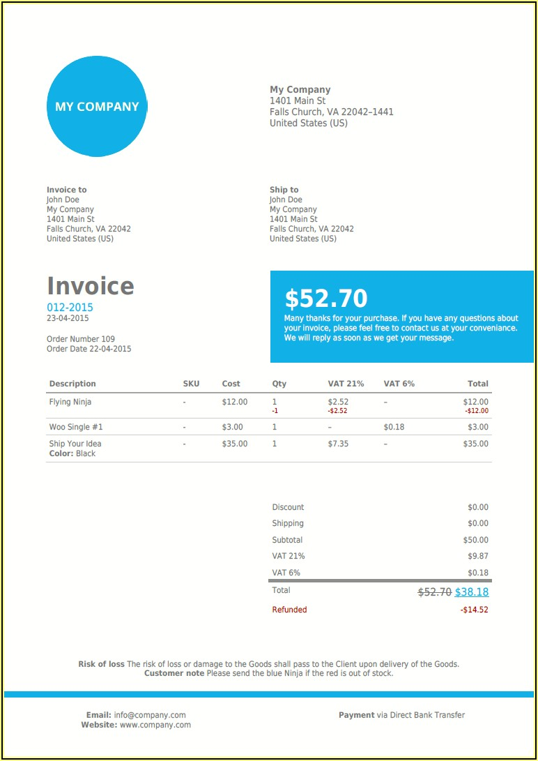 Woocommerce Pdf Invoices & Packing Slips Premium Templates Free Download