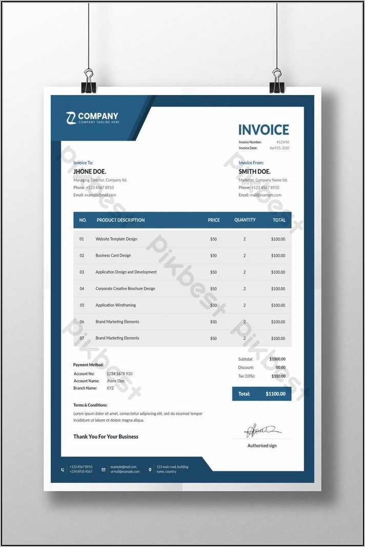 Word Doc Invoice Template Download
