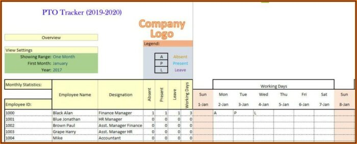 Work Vacation Tracker Template