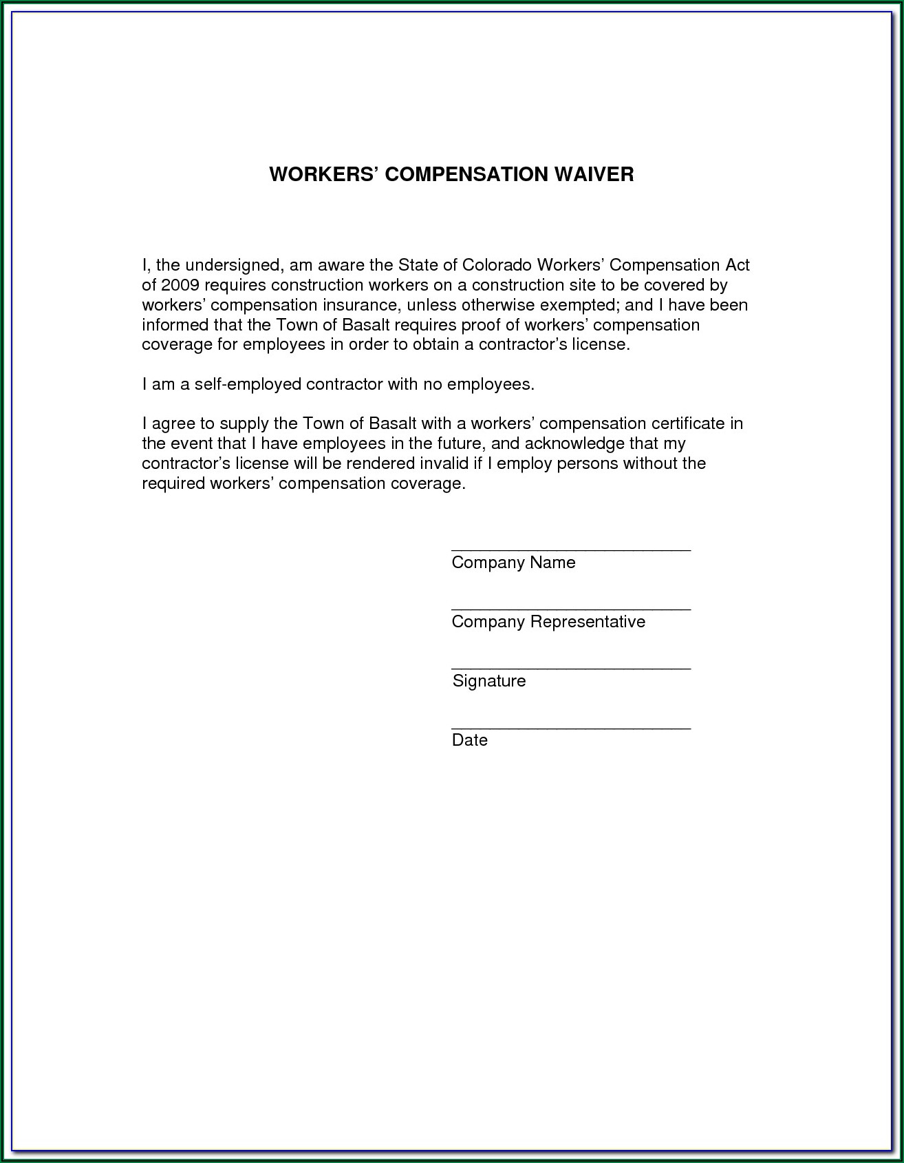 Workers Compensation Texas Exemption Form