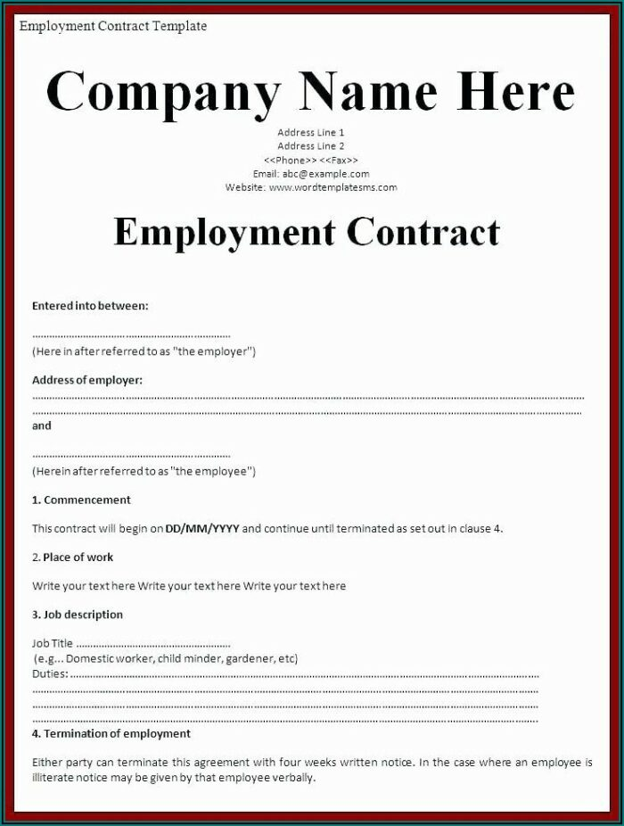 Zero Hour Employment Contract Template Free