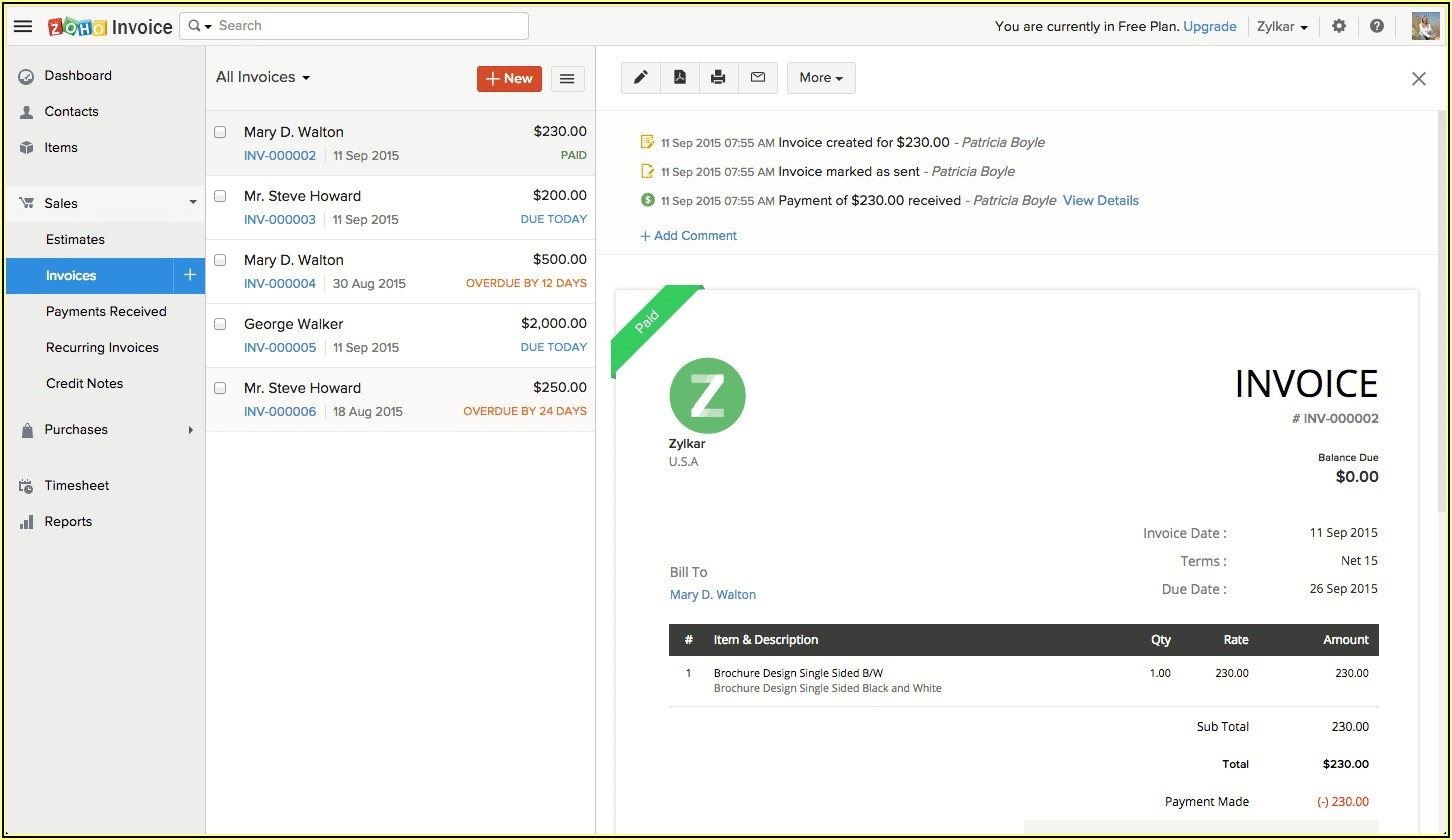Zoho Invoice Free Vs Basic