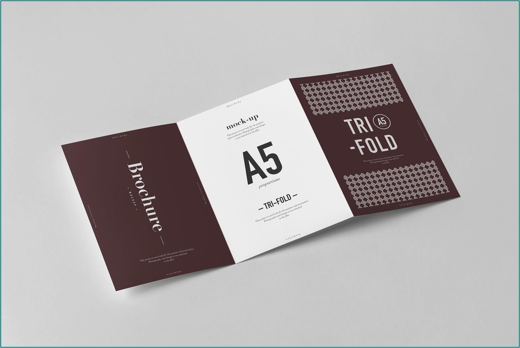 A5 Tri Fold Brochure Mockup Free