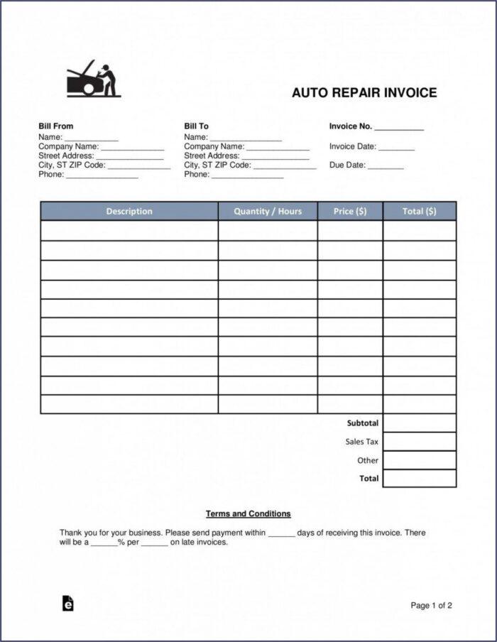 Car Repair Invoice Pdf