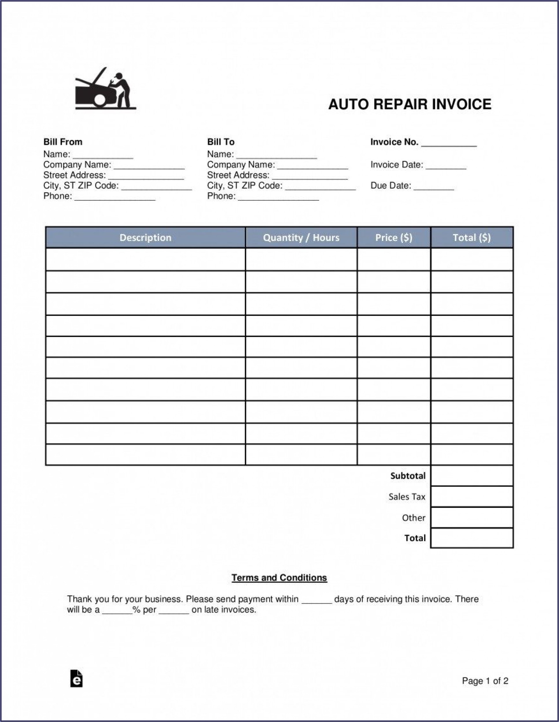 Car Repair Invoice Pdf