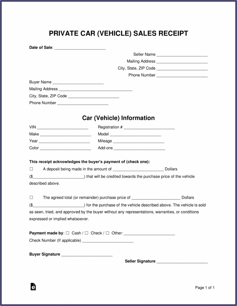 Car Sale Receipt Template Word Free