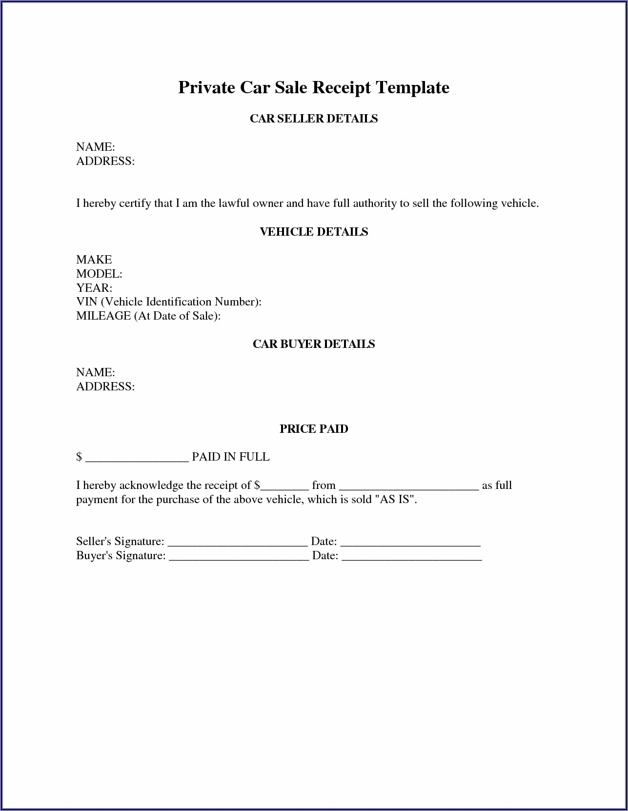 Car Sales Receipt Template Australia