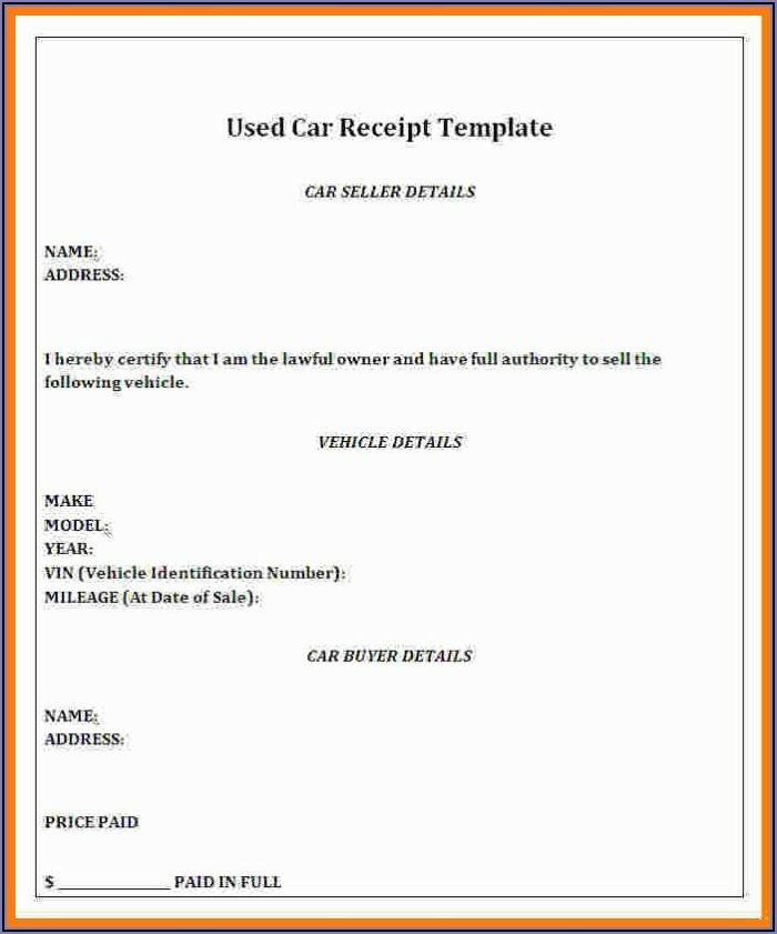 Car Sales Receipt Template Microsoft Word