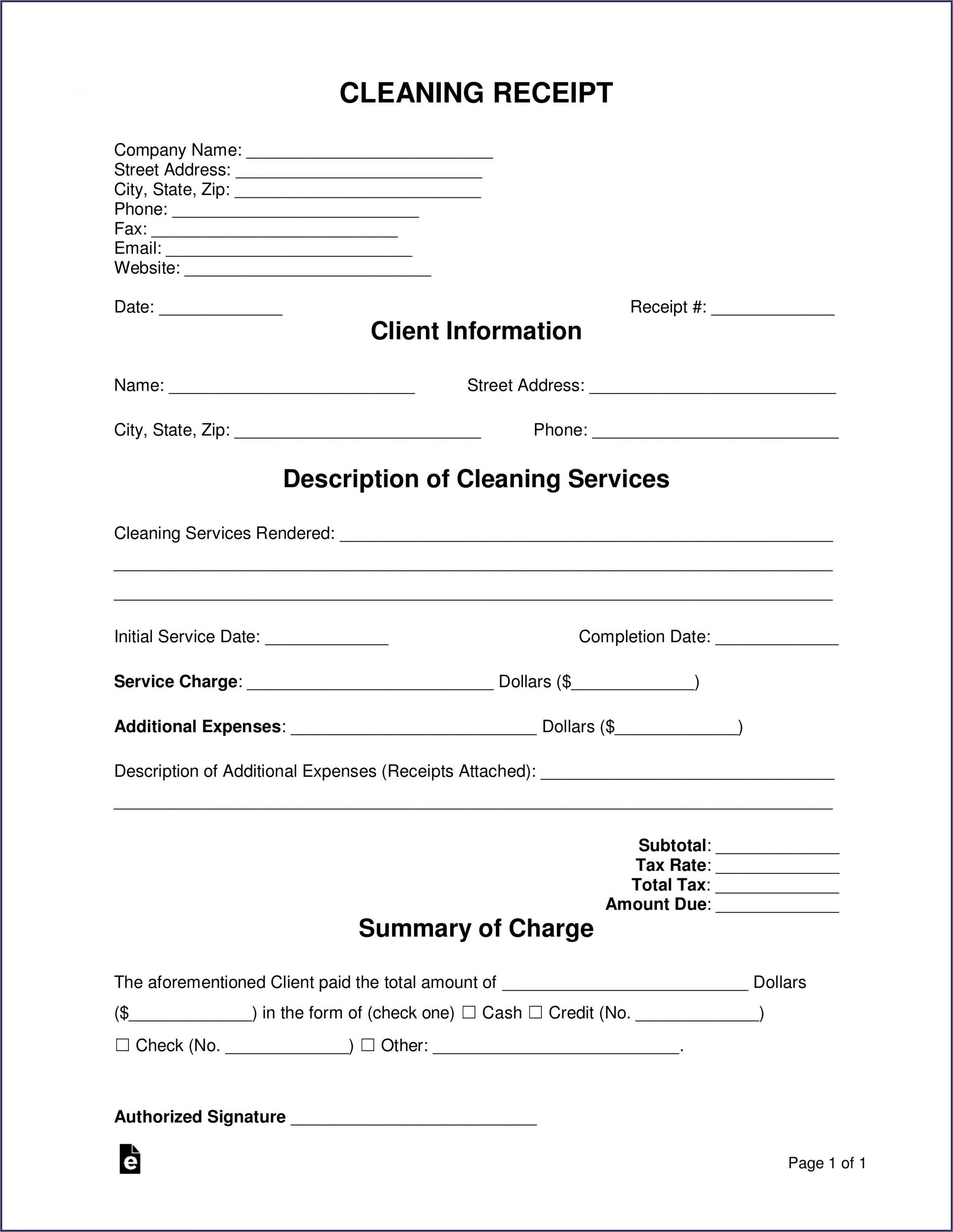 Carpet Cleaning Receipt Template
