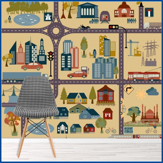City Map Wallpaper Mural