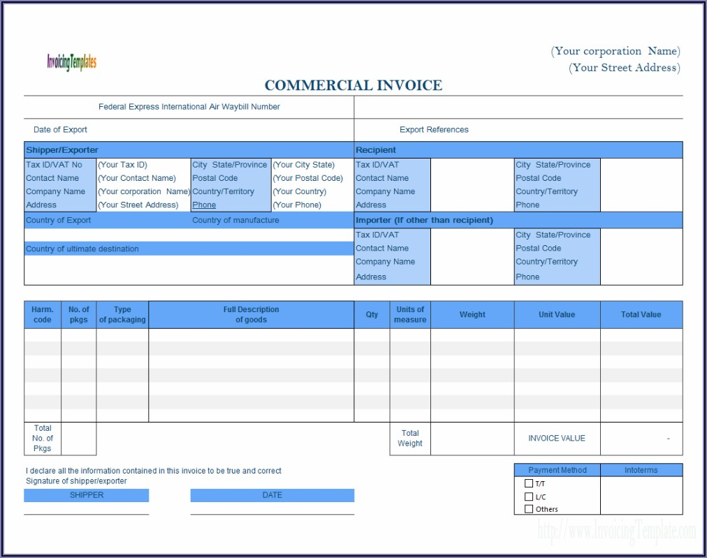 Commercial Invoice Template Xls