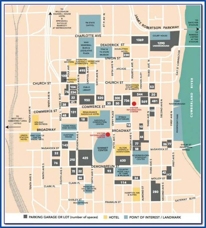 Downtown Nashville Map Of Hotels