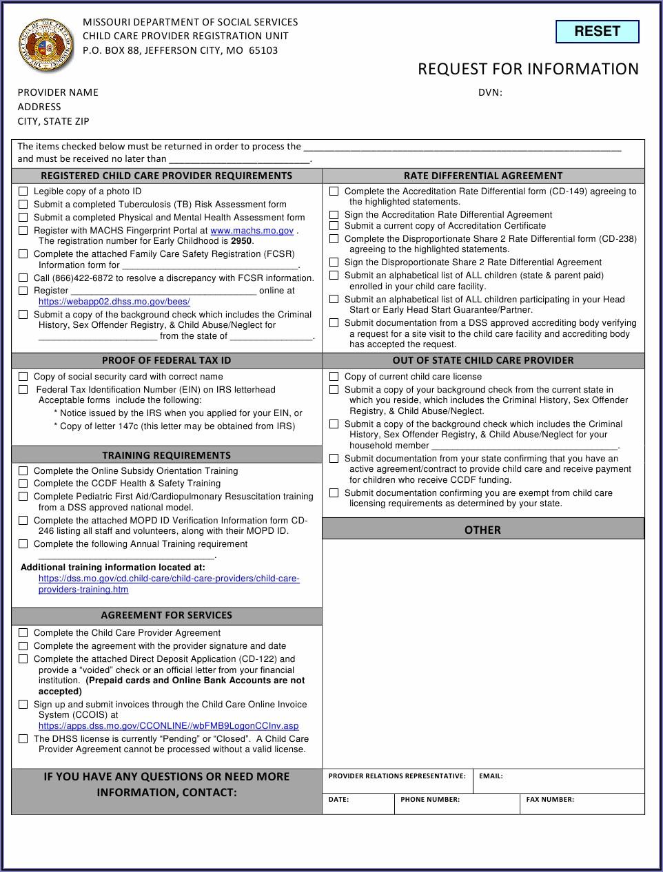 Dss.mo.gov Childcare Invoice