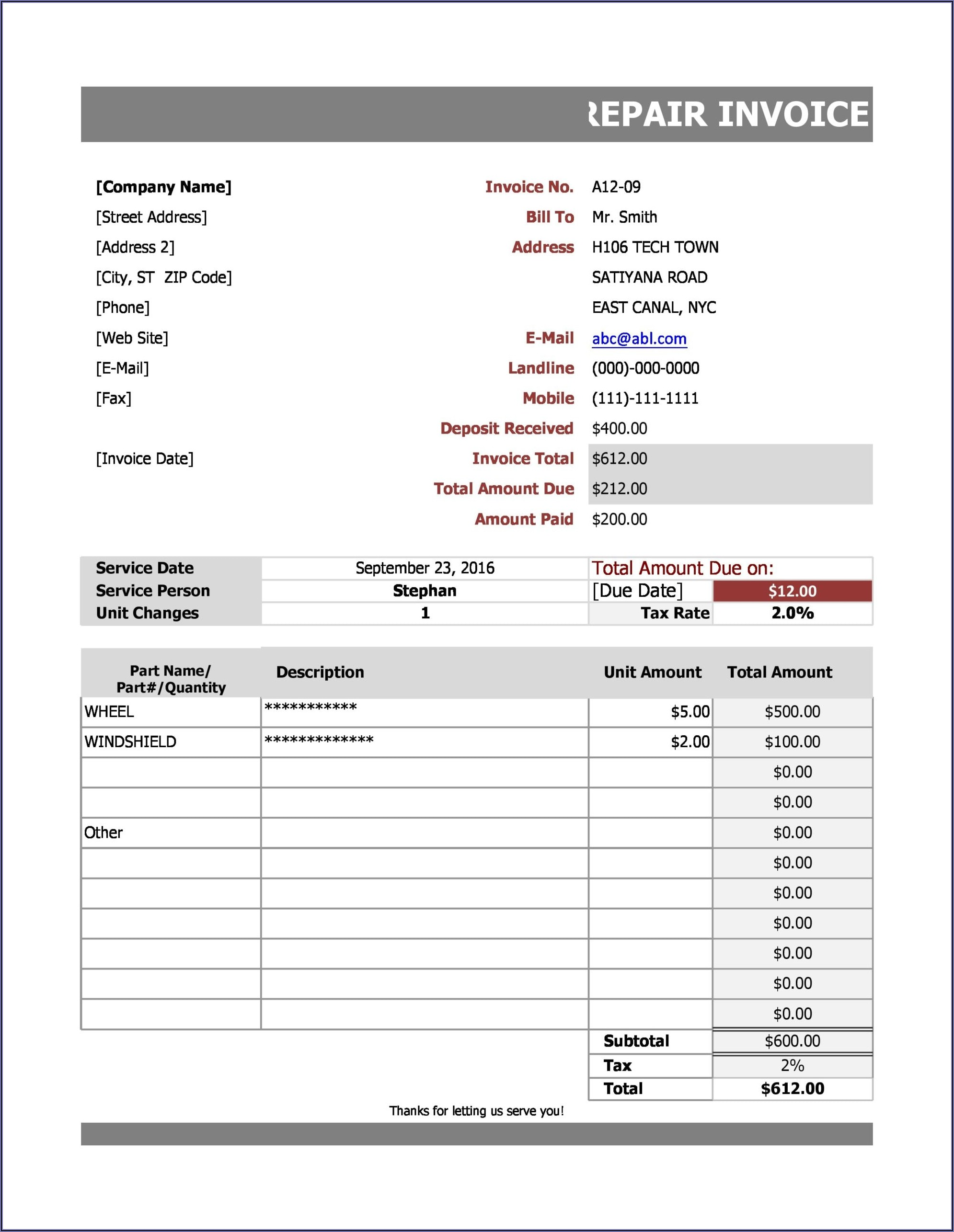 Fake Car Repair Invoice