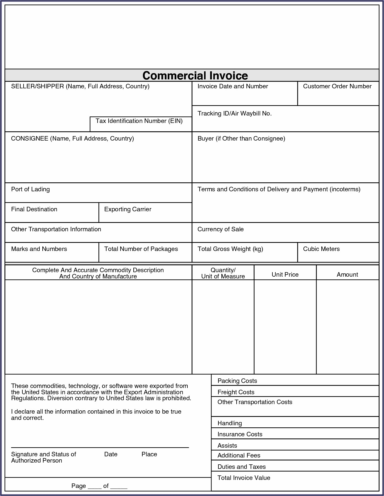 Fedex Commercial Invoice Form Canada