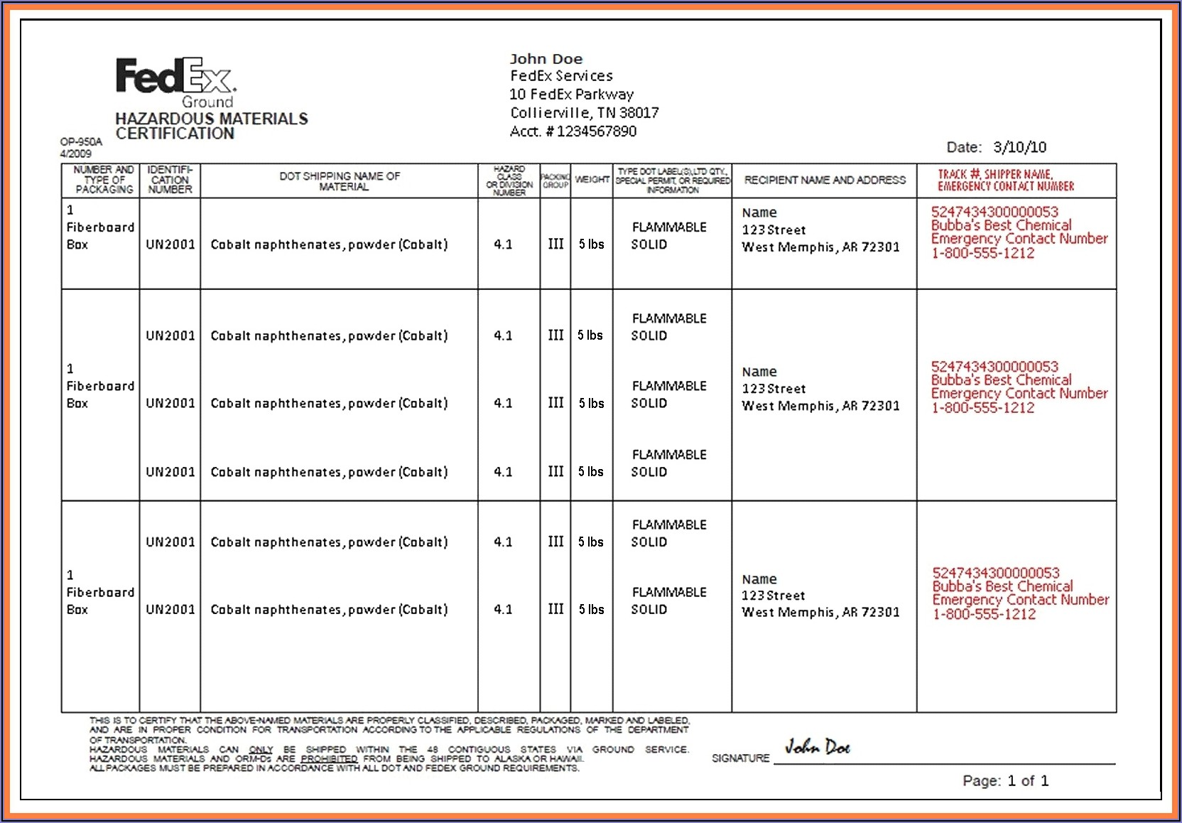 Fedex Ground Commercial Invoice Form