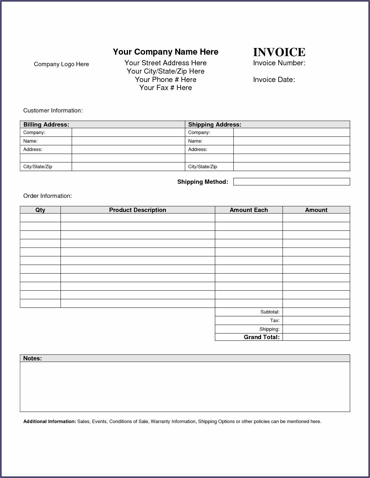 Free Microsoft Word Invoice Template For Mac