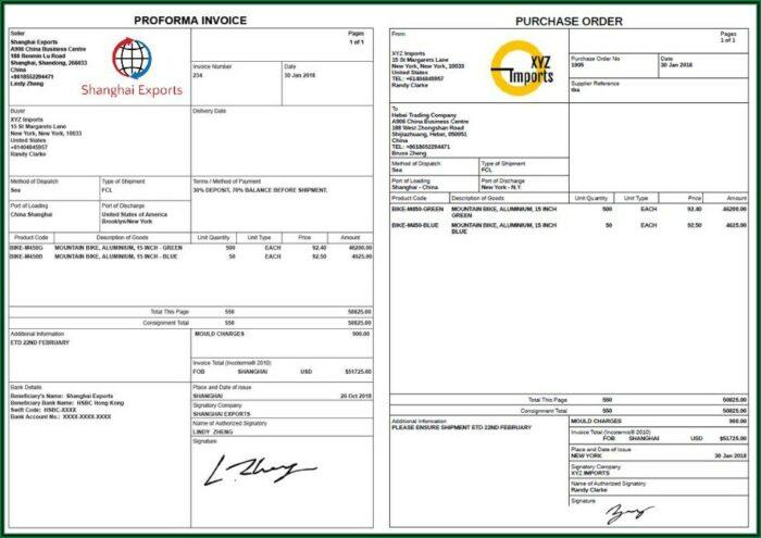 Free Simple Proforma Invoice Template Excel