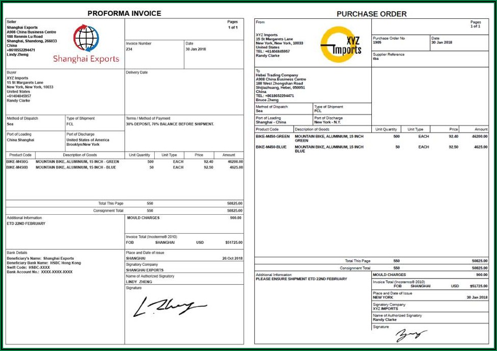 Free Simple Proforma Invoice Template Excel