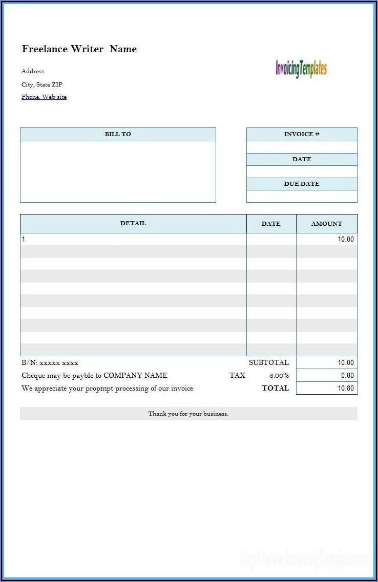 Freelancer Invoice Template Pdf
