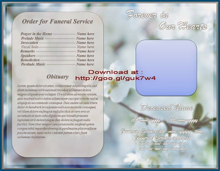 Funeral Booklet Template Free Word