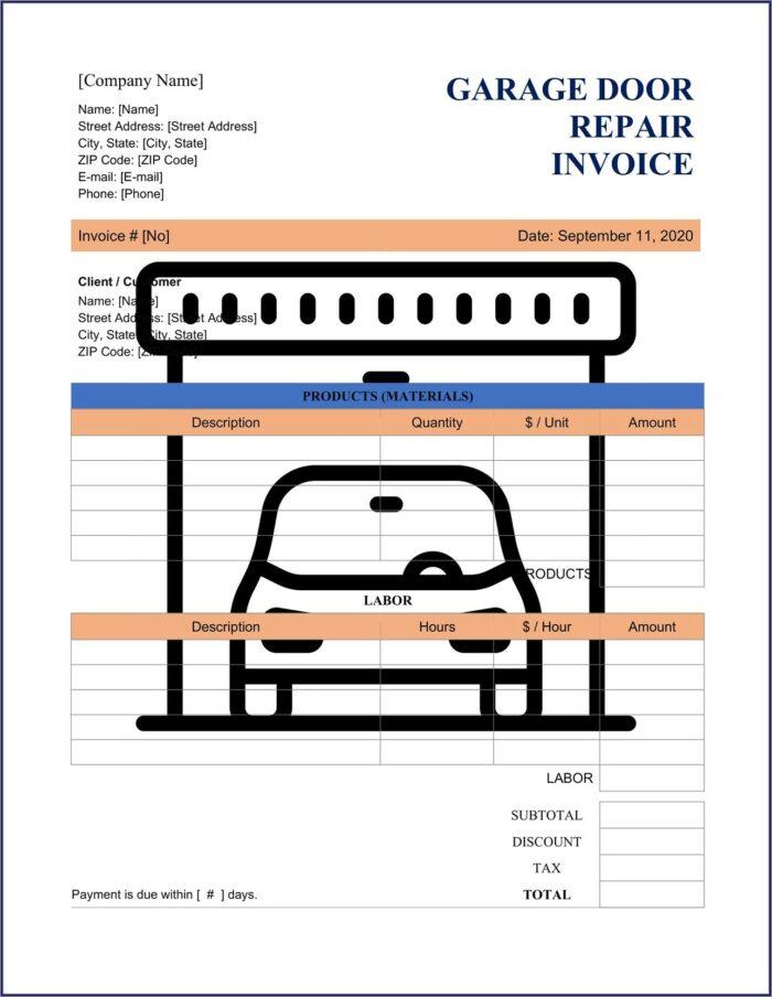 Garage Repair Invoice Template