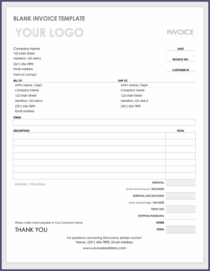 Invoice Template Word Doc
