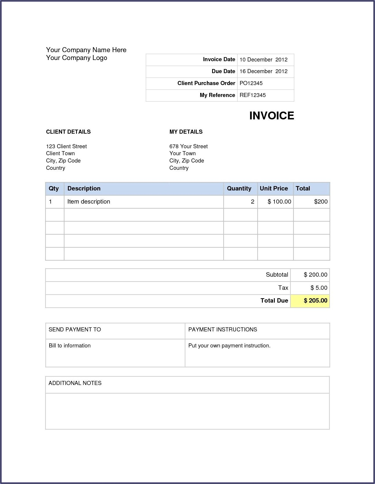Invoice Template Word Document