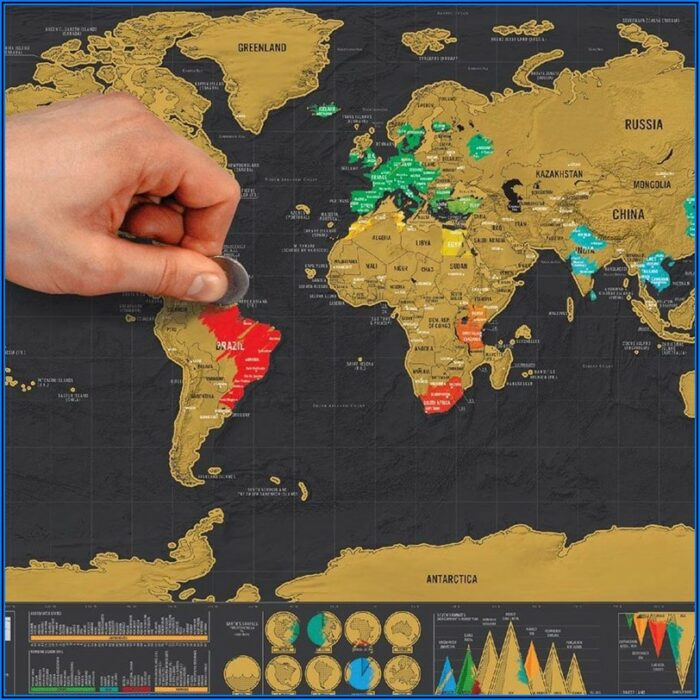 Large Scratch Off World Map Poster