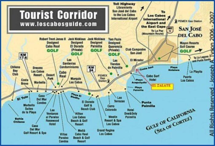 Map Hotel Zone Los Cabos Mexico