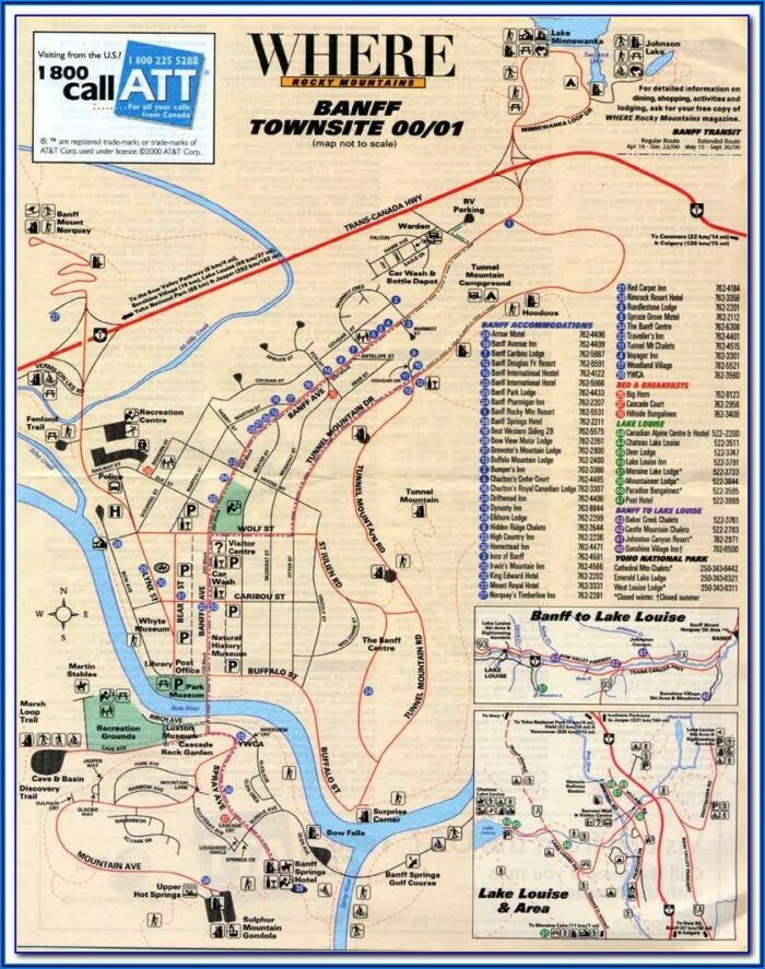 Map Of Hotels In Banff Canada