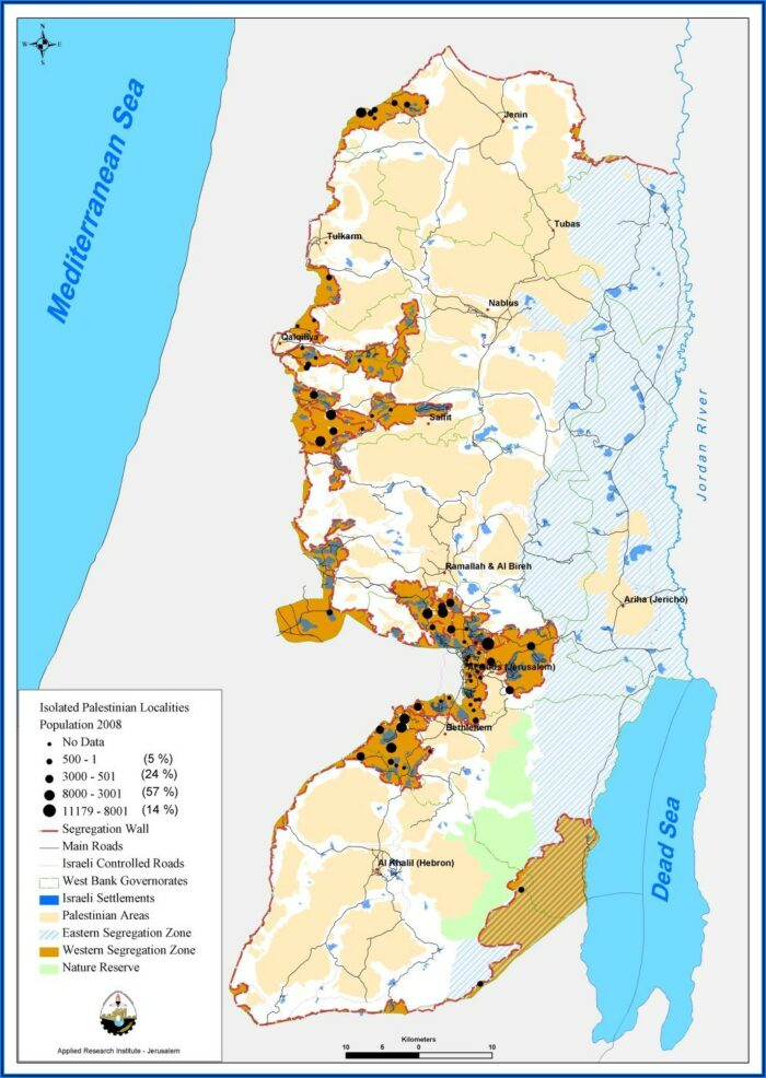 Map Of Israeli Separation Wall