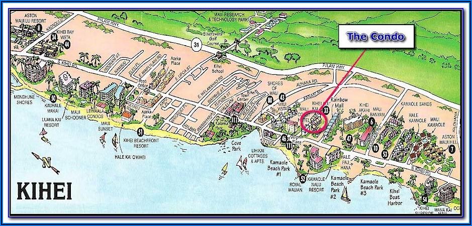 Map Of Maui Hotels And Condos