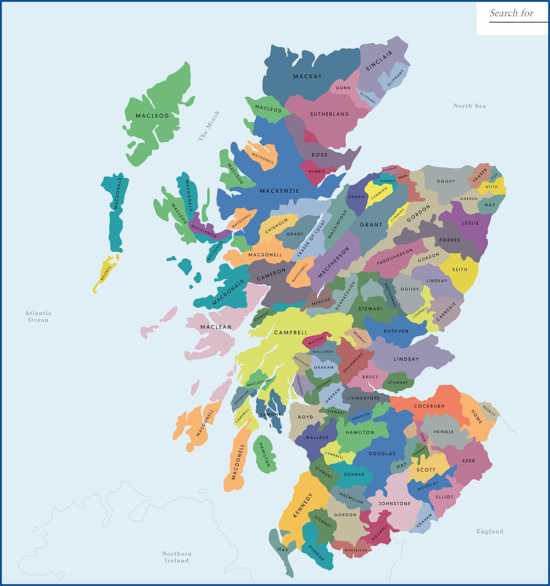 Map Of Scottish Clans Scotland
