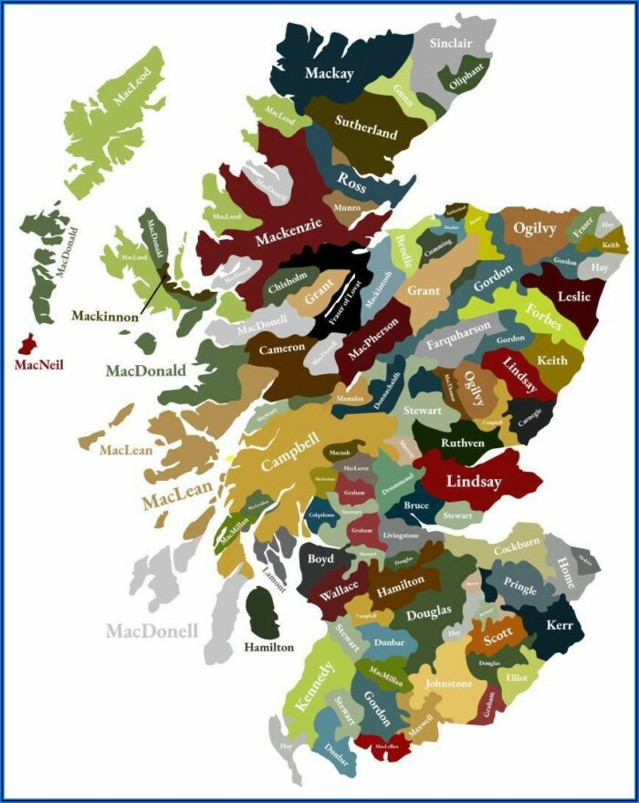Map Of The Clans Of Scotland