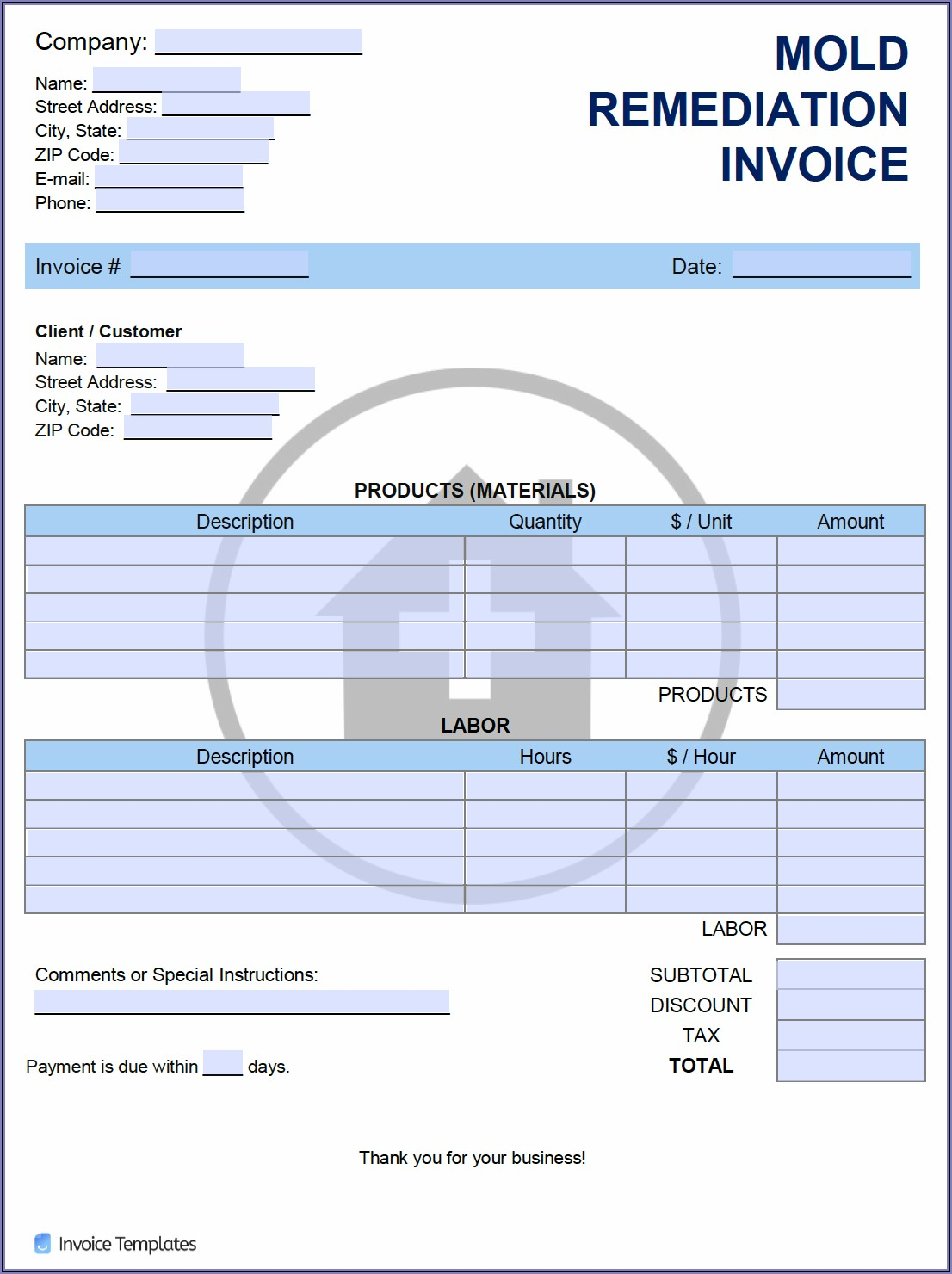 Mold Remediation Invoice Template