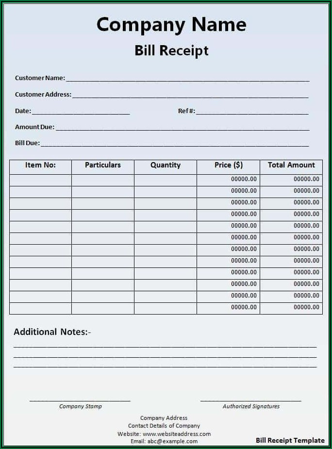 Paid Receipt Template Word