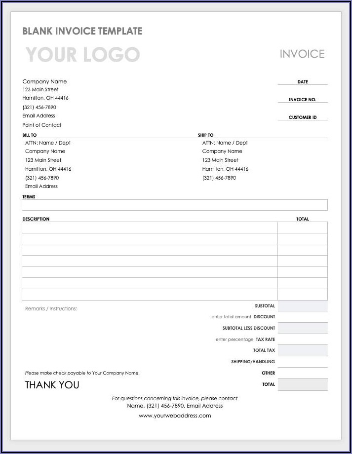 Proforma Invoice Template Word Document