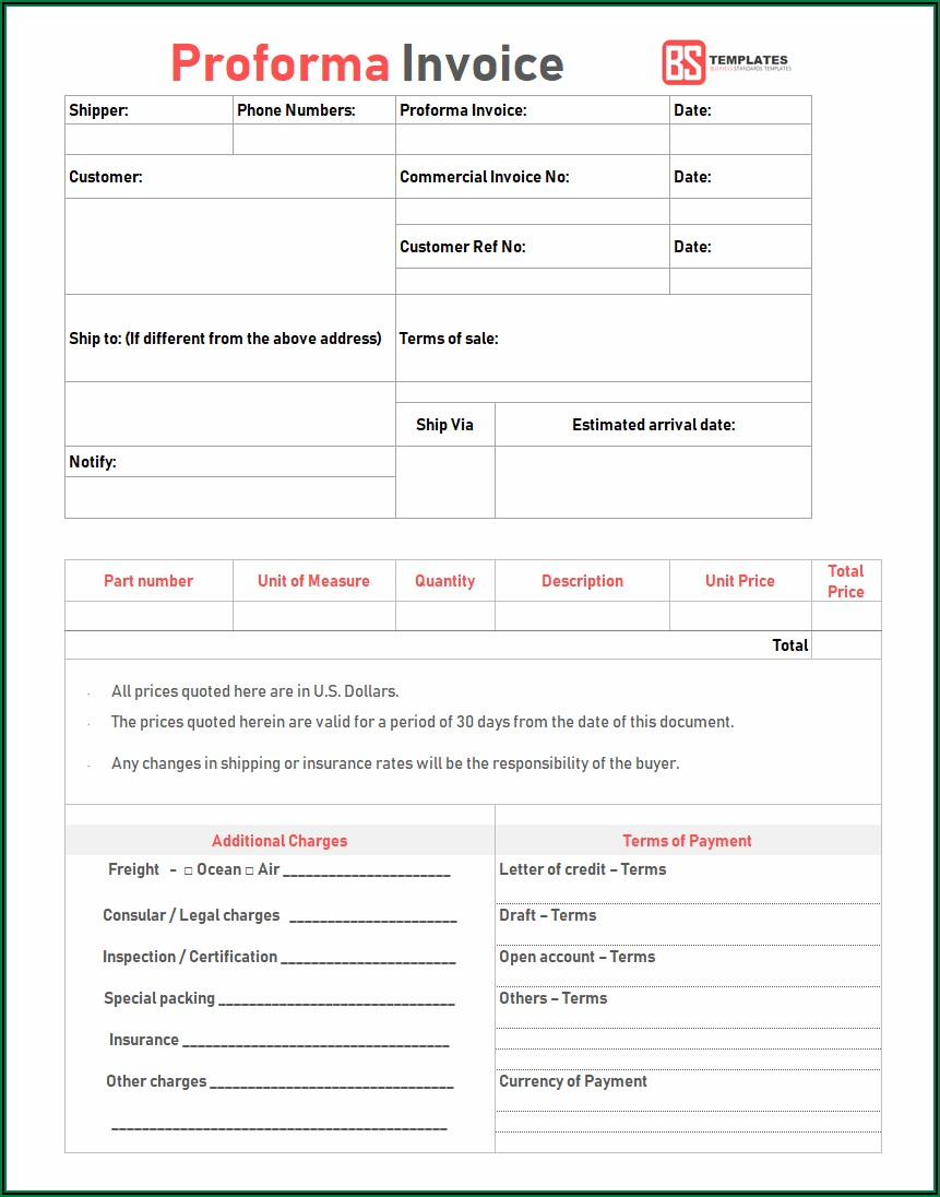 Proforma Invoice Template Word Pdf