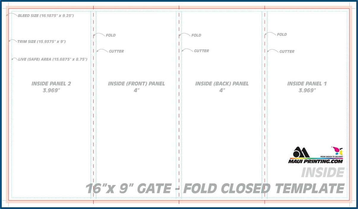 Quad Fold Brochure Dimensions