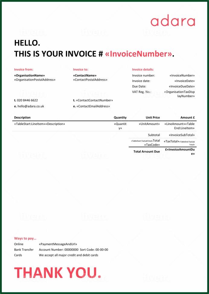 Quickbooks Online Custom Invoice Template