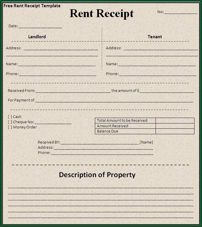 Rent Payment Receipt Template Word