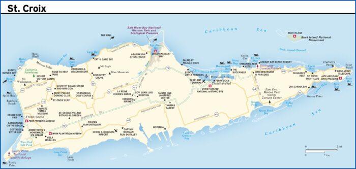 Road Map St Croix Us Virgin Islands