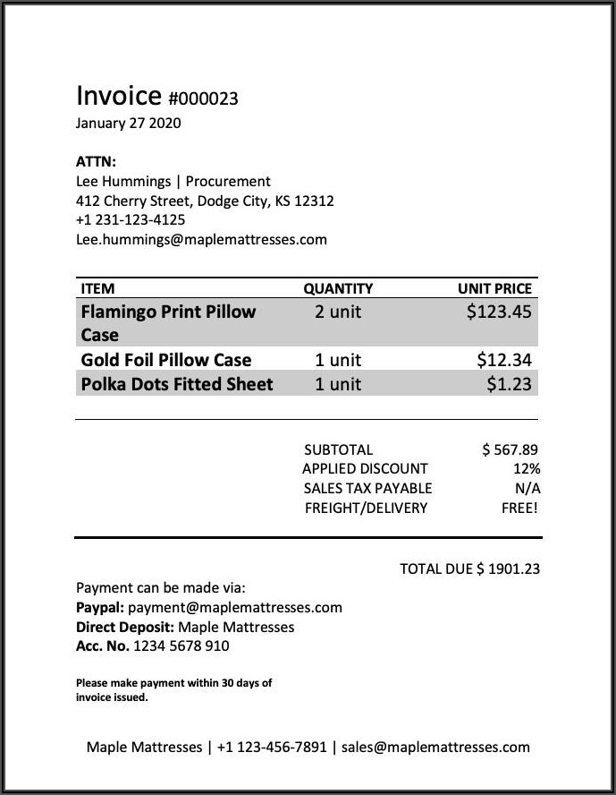Sample Construction Invoice Word Format