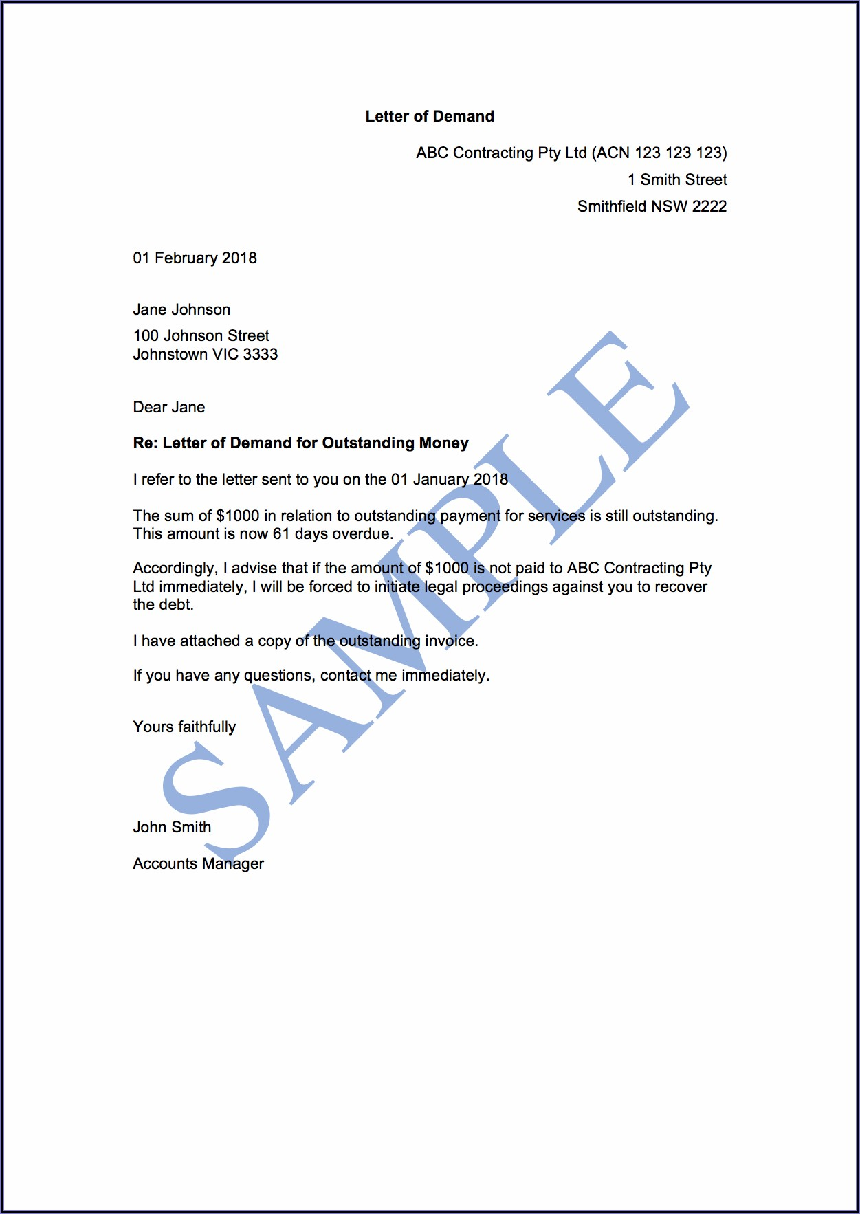 Sample Demand Letter For Unpaid Invoices