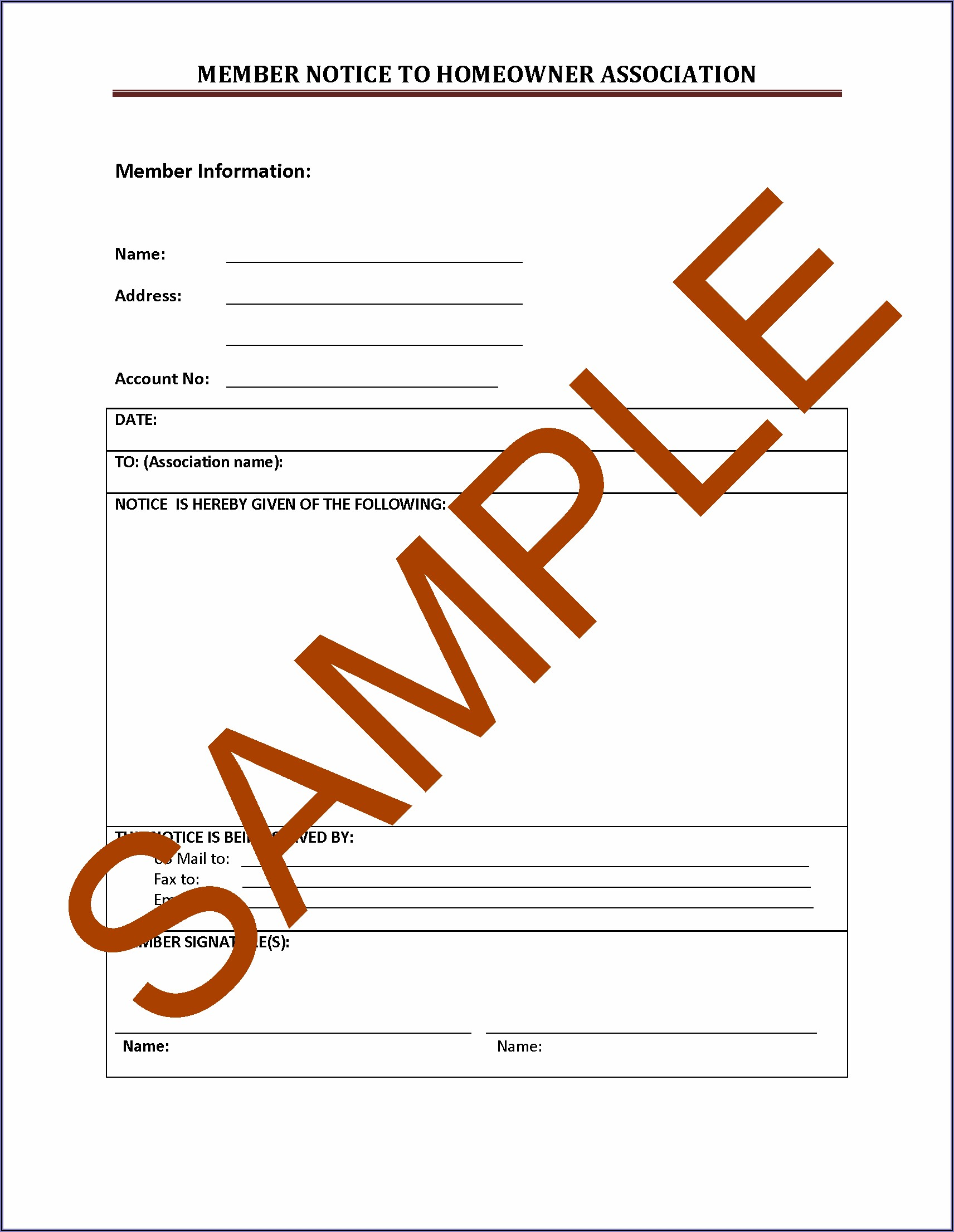 Sample Hoa Dues Invoice Template