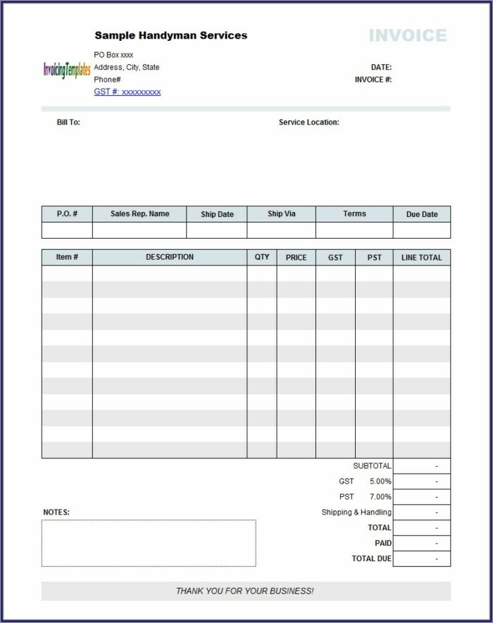 Sample Invoice For Handyman Services