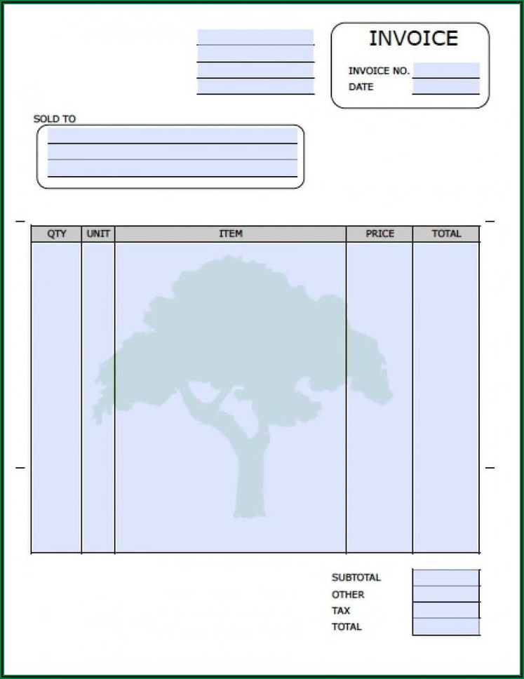 Sample Lawn Care Invoice
