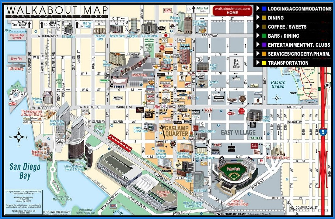 San Diego Hotels Gaslamp District Map