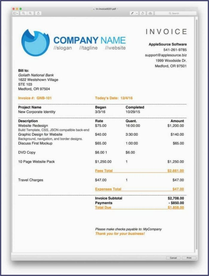 Simple Invoice Template Ms Word